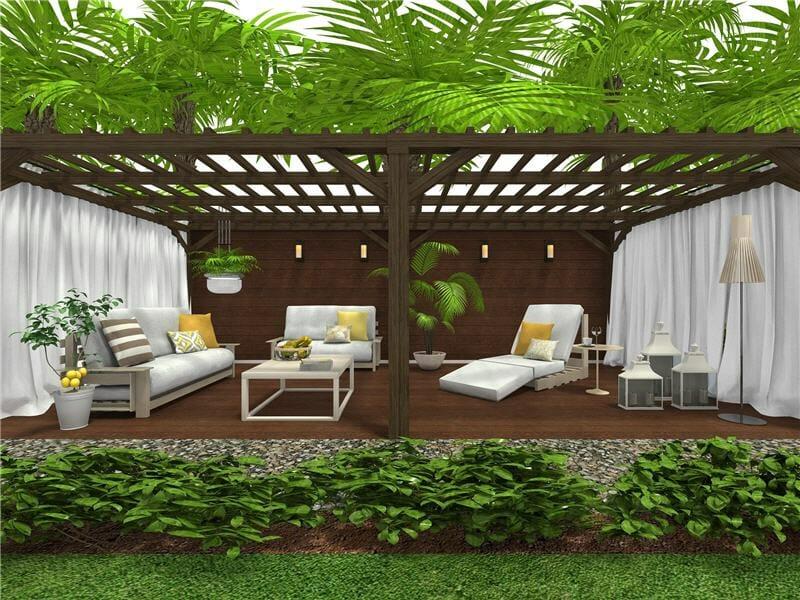 3D landscape design of backyard garden layout