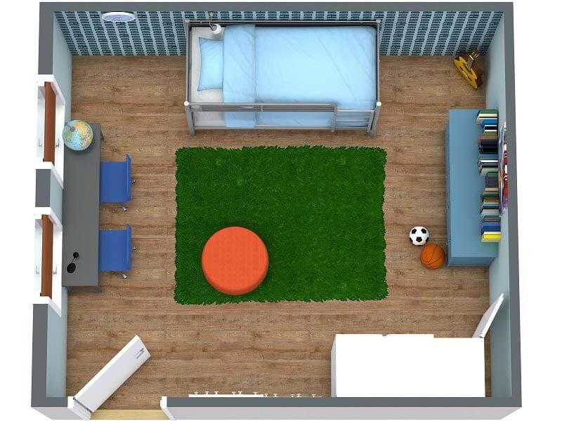 RoomSketcher-3D-Floor-Plan-Layout-of-Bedroom-Design-for-Boys-Room