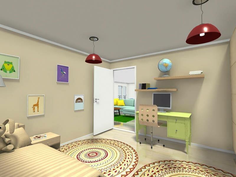 RoomSketcher-Kids-Rooms-Bedroom-Design-with-Desk-Beige-Green-Red-Accent-Lights