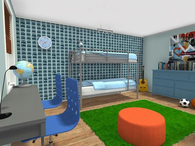 RoomSketcher-Dorm-Room-Furniture-Decor-Ideas-Bunk-Bed-Shared-Desk-Bright-Colored-Rug-and-Ottoman-Cool-Wallpaper-Graffiti-Art