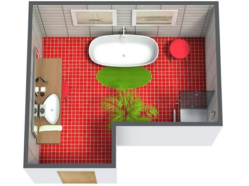 RoomSketcher Floorplans – 3D Bathroom Floor Plan