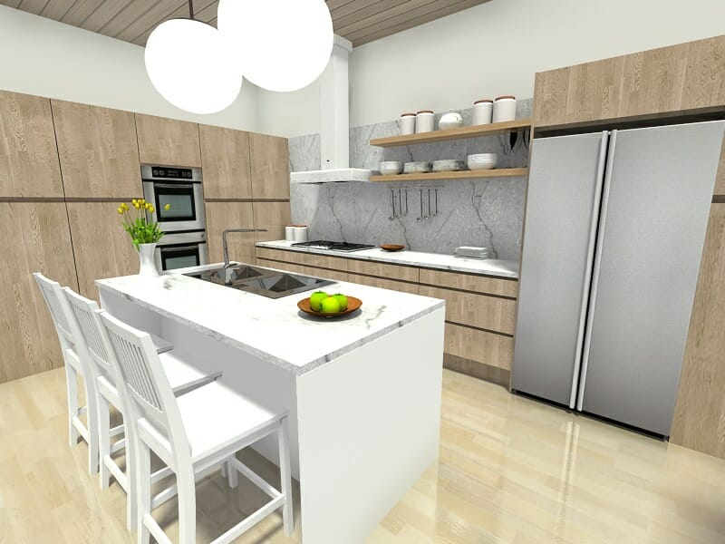 7 kitchen layout ideas that work roomsketcher blog. Black Bedroom Furniture Sets. Home Design Ideas