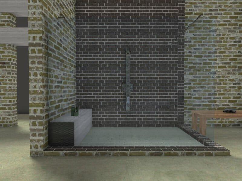 Industrial bathroom shower