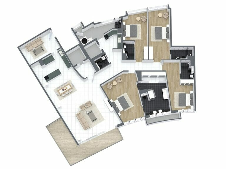 Modern floor plan geometric