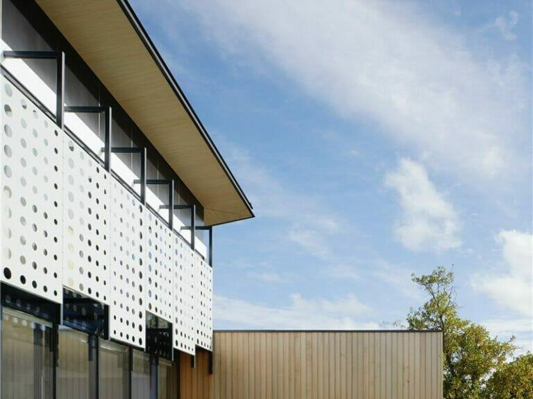 Overhanging eaves on modern house